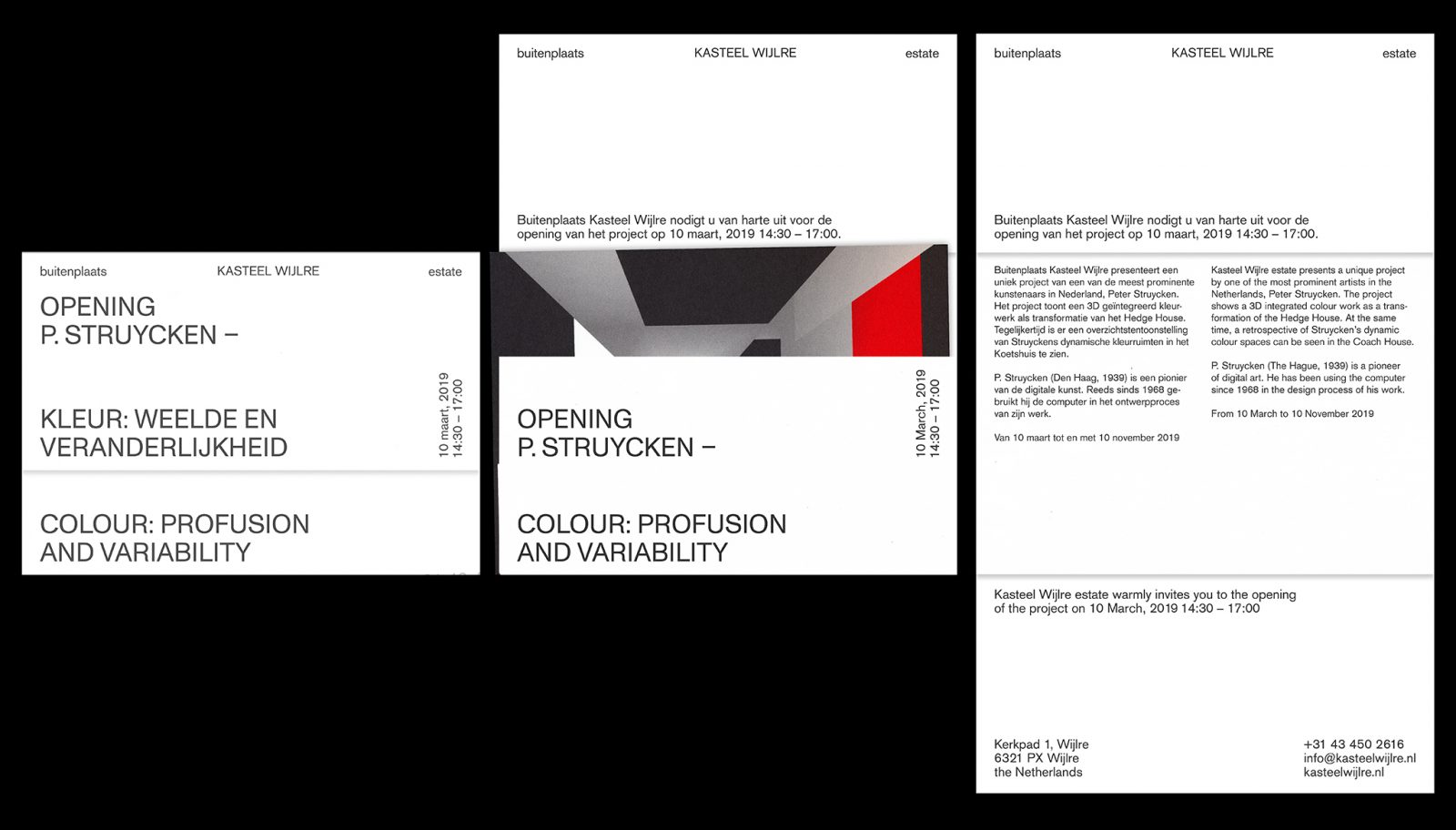 Maarten Kanters - Kasteel Wijlre estate | P. Struycken – Colour: Profusion and Variability – invite and catalogue design